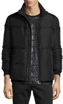 Versace Rope-Trim Zip Puffer Jacket, Black
