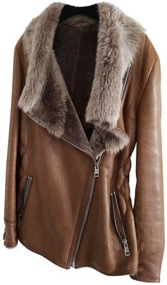 Ventcouvert Camel Leather Coat for Women