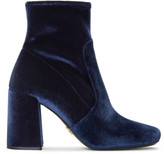 Prada Navy Stretch Velvet Boots