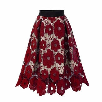 Kaist Skirts Women Plus Size Crotch Lace Knee Length Soft Stretch Flared Printed Skirts