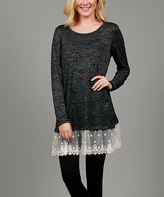 Aster Deep Gray & White Lace Crewneck Tunic - Plus Too