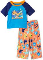 Komar Kids Blue & Orange 'Beware of Monsters' Pajama Set - Toddler