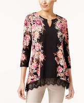 JM Collection Petite Lace-Trim Keyhole Top, Created for Macy's
