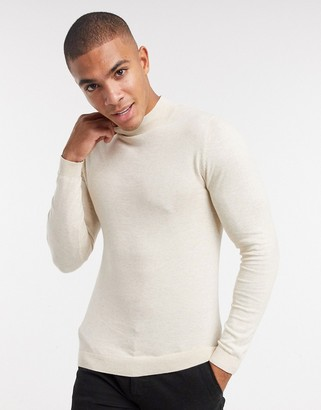 ASOS DESIGN muscle fit turtle neck jumper in oatmeal