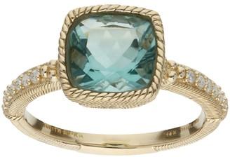 Judith Ripka 14K Gold 2.00 Green Fluorite Ring