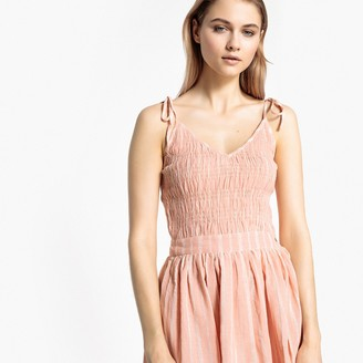 La Redoute Collections Striped Flared Dress with Tie Straps