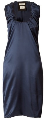 Bottega Veneta Gathered Scoop-neck Satin Midi Dress - Womens - Dark Blue