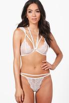 boohoo Ella Pretty Lace Multi Strap Bralet + Brief Set white