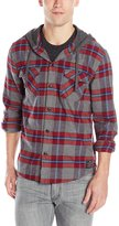 Quiksilver Men's Rockyfist Long Sleeve Hooded Shirt, Rosewood