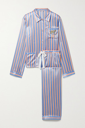 Morgan Lane Ruthie Chantal Embellished Embroidered Striped Satin Pajama Set - Pastel pink