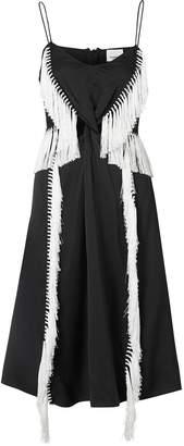 Burberry Fringe Detail Silk Satin Slip Dress