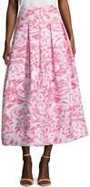 Oscar de la Renta Women's Floral Texture Tea Length Skirt