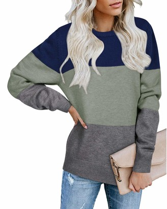 STYLEWORD Womens Long Sleeve Colour Block Warm Jumpers Knitted Casual Loose Crew Neck Pullover Ladies Striped Knitwear Thick Sweaters Top(White & Khaki S)