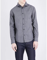Armani Jeans Regular-fit Polka Dot-print Cotton Shirt