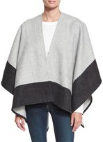 Rag & Bone Double-Face Colorblock Merino Wool Wrap, Gray