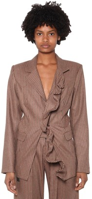 Unravel Ruffled Wool Blend Blazer