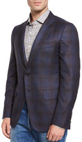 Isaia Plaid Two-Button Sport Jacket, Navy/Brown