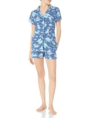 Munki Munki Women's Jersey Short Sleeve and Short Classic Pj Set