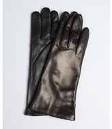 Portolano black leather touch screen cashmere lined gloves