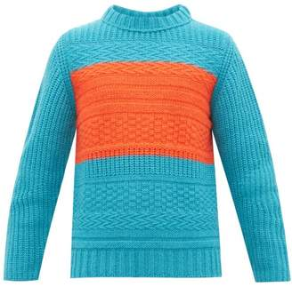Paul Smith Contrast Panel Wool Blend Sweater - Mens - Blue
