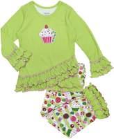 Sara's Prints Girls' Cupcake & Sweet Treats Ruffled Pajama Set, Kids