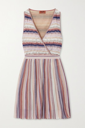 Missoni Wrap-effect Metallic Striped Crochet-knit Mini Dress - Pink
