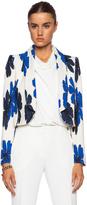 Chloé Hand Drawn Flowers on Silk Crepe de Chine Jacket