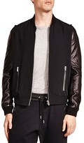 The Kooples Slippery Technical Mixed Media Bomber Jacket