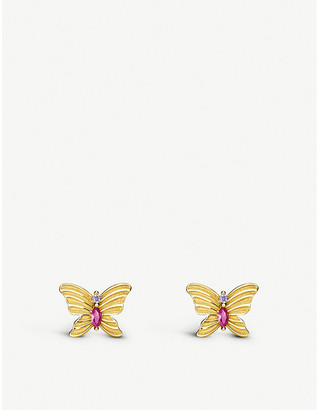 Thomas Sabo Magic Garden butterfly gold-plated sterling silver ear studs