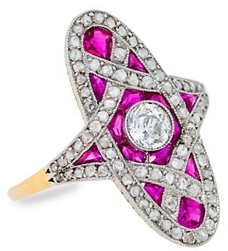 Stephanie Windsor Antique 18K Yellow Gold, Platinum, Diamond & Ruby French Belle Ring