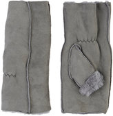 Barneys New York WOMEN'S SHEARLING FINGERLESS GLOVES-LIGHT GREY