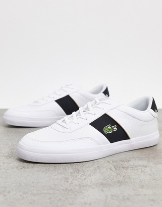 Lacoste court master stripe sneakers in white blue leather