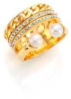 Vita Fede Grace Titan 5MM-5.5MM White Akoya Pearl & Crystal Chain Ring