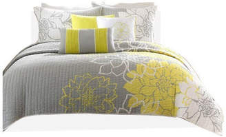 Madison Home USA Signature Printed Quilted Coverlet 6-Piece Set, Yellow, Full/Queen