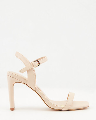 Le Château Faux Leather Ankle Strap Square Toe Sandal