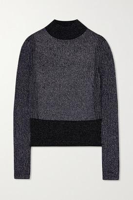 Victoria Victoria Beckham Ribbed Metallic Wool-blend Sweater - Navy
