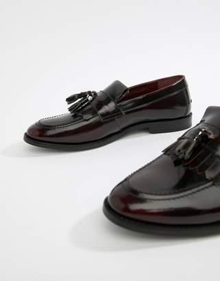 Walk London North fringe tassel loafers in high shine burgundy-Red