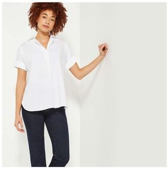 Joe Fresh Women's High-Low Short Sleeve Shirt, White (Size S)