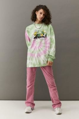 Urban Outfitters Long Sleeve Tie-Dye Mushroom Skate T-Shirt - Pink S/M at