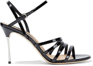 Sergio Rossi Godiva Steel Patent-leather Sandals
