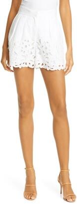 La Vie Rebecca Taylor Ella Embroidered Linen & Cotton Shorts