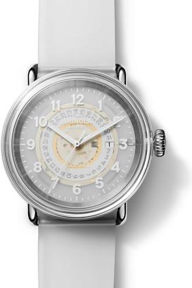 Shinola 43mm Detrola The Middle Child Watch w/ Semi-Transparent Silicone Strap