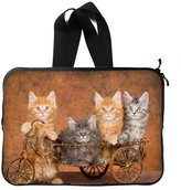 BetterYou Kittens Family Animal Orange Cat Design Twin Sides Print Laptop Sleeve