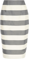 Burberry Striped silk and cotton-blend faille skirt