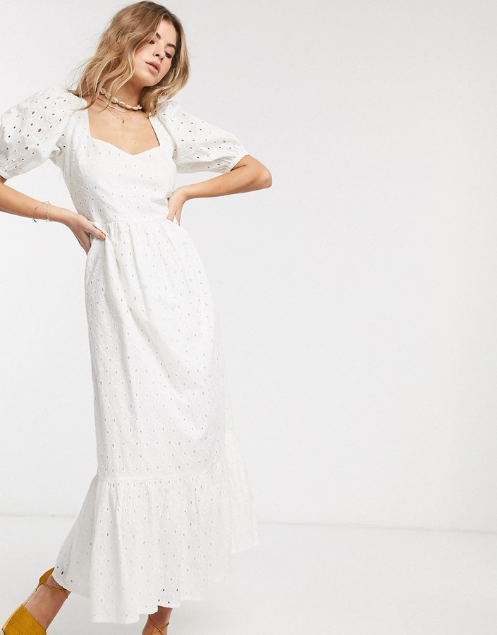 ASOS DESIGN eyelet tiered maxi dress with puff sleeves and open back in white