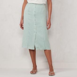Lauren Conrad Women's Button Front Midi Skirt