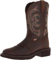 "Justin Boots Women's Gypsy Collection 11"" Boot Wide Square Double Stitch Toe Brown Rubber Outsole,Aged Bark with Perfed Saddle Vamp/Aged Bark with Diamond Cut Pull Strap"