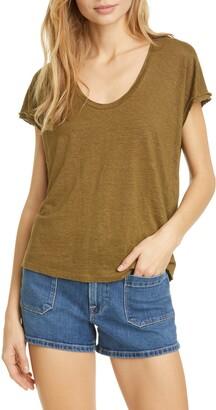 Frame Easy Scoop Neck Organic Linen T-Shirt