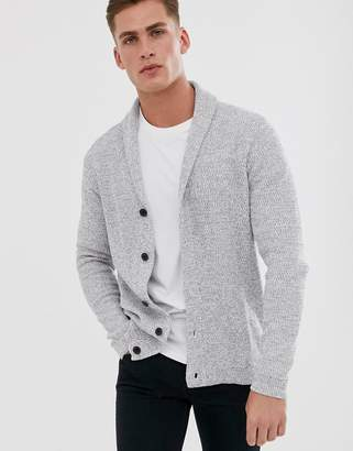 Selected organic cotton knitted shawl cardigan in grey