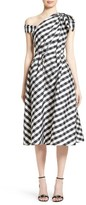 Carolina Herrera Women's Bow Detail One-Shoulder Gingham Dress